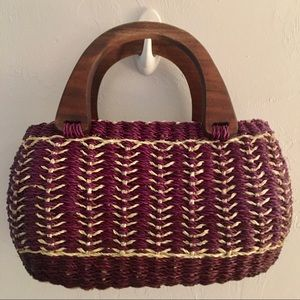 Boutique Straw Wooden Handle Bag - 7x12x4 maroon